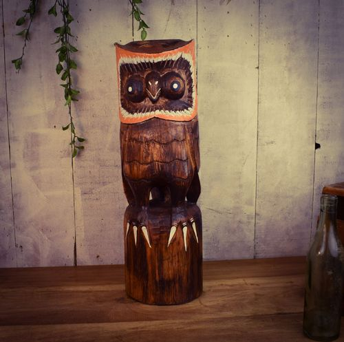 50cm Hand Carved Wooden Owl Mixed Colours